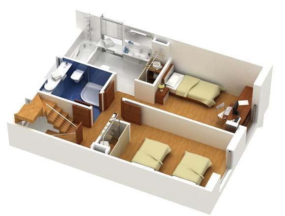 Piante prospetti planimetrie spaccati e sezioni 3d for Planimetrie case moderne